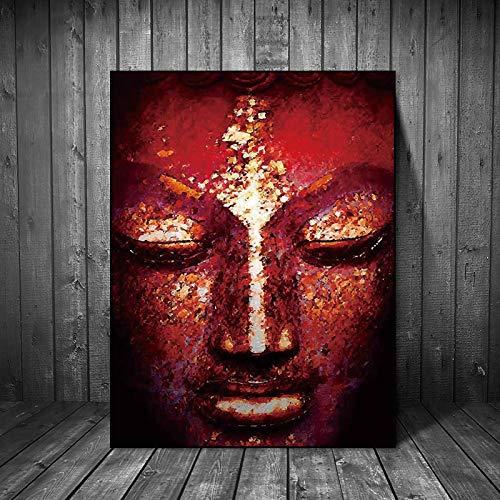 Leinwand Malerei Wandkunst Bilder druckt lebendige Buddha gesicht auf leinwand wohnkultur Wand poster dekoration für wohnzimmer 60x90 CM (kein rahmen)