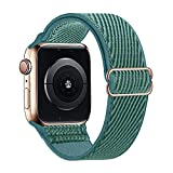 Lobnhot Solo Loop Compatible con Correa de Reloj de Apple 42mm 44mm, Pulsera de Nailon elástico Ajustable para iWatch Series 6/5/4/3/2/1 SE (42/44MM-Pino Verde)