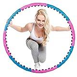 SPRINGOS Hula Hoop de masaje con imanes, dispositivo deportivo, neumáticos de entrenamiento, 100 cm de diámetro, celulitis, entrenamiento, adelgazar, ejercicio de fitness (color rosa y azul)