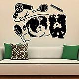 Aseo de mascotas calcomanías de pared perro lindo tienda de mascotas salón niños dormitorio decoración de interiores diseño puerta ventanas vinilo adhesivo arte papel tapiz