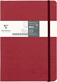 "Clairefontaine My Essential Paginated Notebook 5.8"" x 8.3"" (A5), Dot Grid, Red"