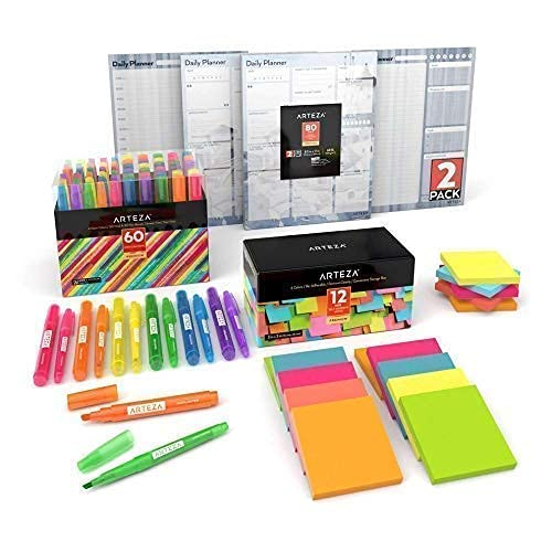 Arteza Highlighters Set of 60 with Sticky Notes 3x3 48 Pack and Daily Planer Pad 3 Pack, Back to School Supplies, Assorted Colors, Office Supplies for Reminders, Studying, Office, Home