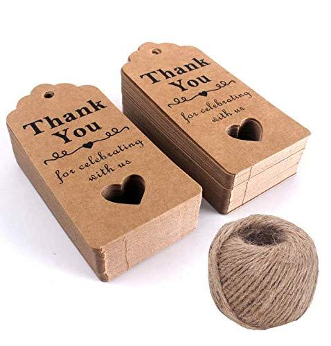 Gwill - Etiquetas de agradecimiento (100 unidades, papel de estraza para bodas, fiestas, regalos con cuerda de yute natural