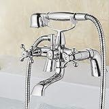 Victorian Traditional Bath Bathtub Mixer Tap with Shower Dual Lever Bathtub Taps Mixer Shower Handset Bathroom...