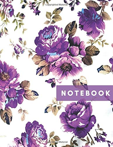 NOTEBOOK: college ruled blank lined journal 120 white pages 8.5 x 11 large composition notebook purple lavender flowers floral vintage pattern white ... write in notes ideas for boys girls men women