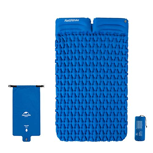 Tentock Ultraleicht Feuchtigkeitsfest Camping Schlafmatte im Freien - Aufblasbare Reisematte für 1-2 Personen, Dicke 6,5 cm(mit Kissen für 2 Personen,blau)