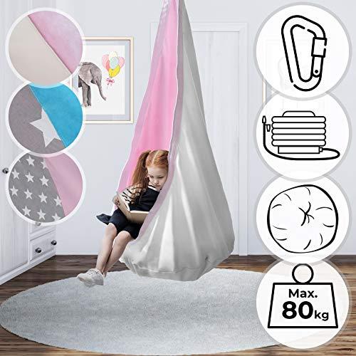 Infantastic Hängesessel Set für Kinder - inkl. Luftkissen, mit oder ohne Zubehör, 100% Baumwolle, 140cm, Designauswahl - Hängehöhle, Kuschelhöhle, Hängematte