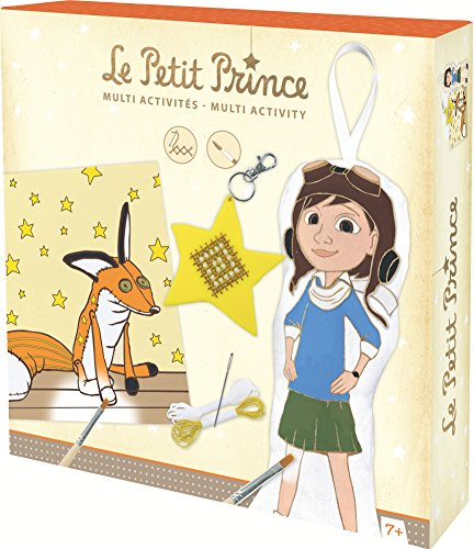 Avenue Mandarine CO062O - Der kleine Prinz, Multi-Activity Set, 1 Ausmalbild, 1 Stickanhänger, 1 Puppe zu Bemalen