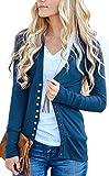 NENONA Women's V-Neck Button Down Knitwear Long Sleeve Soft Basic Knit Cardigan Sweater(Navy Blue-XL)