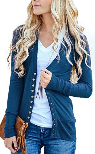 NENONA Women's V-Neck Button Down Knitwear Long Sleeve Soft Basic Knit Cardigan Sweater(Navy Blue-L)