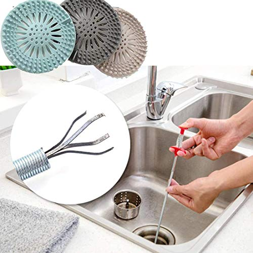 Hair Catcher Durable silicone Hair stopper shower drain Covers Easy to Install and clean Suit for Bathroom Bathtub and kitchen 3 Pack +Flexible Grabber Claw Pick Up Reacher Tool With 4 Claws Bendable