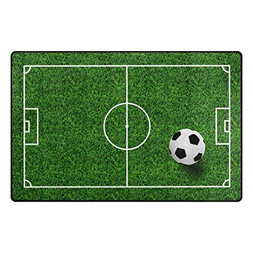 Use7 Tapis antidérapant pour salon ou chambre à coucher Motif terrain de football 100 x 150 cm