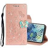 MDYHMC YXCY AYDD per Samsung Galaxy A31 Diamond Imparted Butterflies Embossing Pattern Cassa Orizzontale in Pelle Flip con Supporto e Carte Slot & Portafoglio e Cordino (Color : Rose Gold)