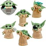 Star Wars Baby Yoda Hilloly 6 juegos de juguetes Yoda para bebés, lindos mini modelos, decoraciones de mesa impermeables y a prueba de óxido, joyas de Star Wars Yoda