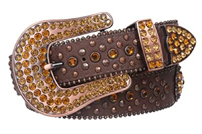 Snap On Western Sunflower Cowgirl Rhinestone Studded Leather Belt Size: S/M - 34 Color: Brown