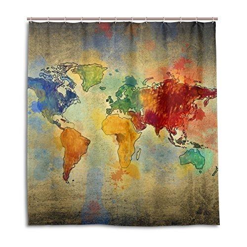 jstel Decor Duschvorhang VINTAGE Weltkarte Muster Print 100prozent Polyester Stoff 167,6x 182,9cm für Home Badezimmer Deko Dusche Bad Gardinen mit Kunststoff Haken