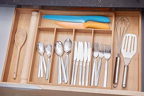 Growsun Bamboo Drawer Utensil Organizer Expandable Kitchen Cutlery Utility Tray, Nature Bamboo