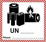 BT-Label 250 - Etichette per merci pericolose, 120 x 110 mm, classe UN, da etichettare (es. UN 3481, 3480, 3090, 3091) senza numero di telefono/N
