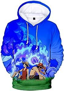 PANOZON Niños Sudadera One Piece Luffy Impresa 3D Uniforme de Manga Dibujos Animados Camiseta Deportiva con Capucha (S, Estepa 428-5)