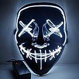 ZHYX Flash Wear Purge LED MaskHalloween Costume LED Glow Scary Light Up Máscaras para Festival Fiesta Carnaval Disfraz,A