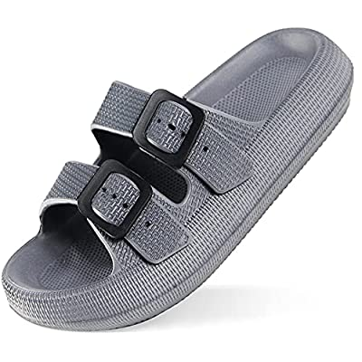 Weweya Men's Women's Pillow Slides Sandals Double Buckle Thick Sole Bath Slipper