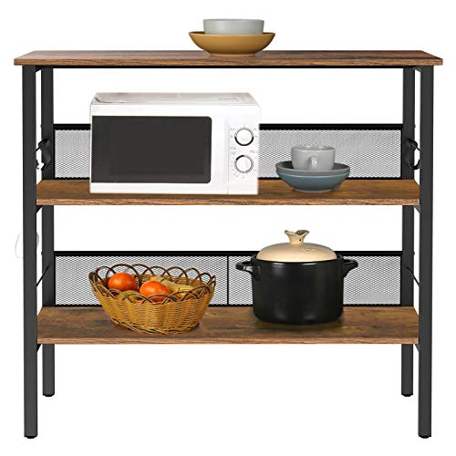 """BEEWOOT Kitchen Island with 3 Shelves,Kitchen Shelf with Large Worktop,Kitchen Baker's Rack with 8 Hooks,39.4 """"L × 17.7"""" W × 35.4 """",Stable Steel Structure and Easy Assembly,Rustic Brown KI01BB010"""