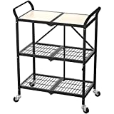 Haus Alchemy Foldable Serving Trolley 3-Tier Multipurpose Table Organizer – Rolling Utility Cart for Home-Kitchen-Bedroom-Garden-Office-Hospital & More – Wooden/Steel – Black (70x37x85cm)