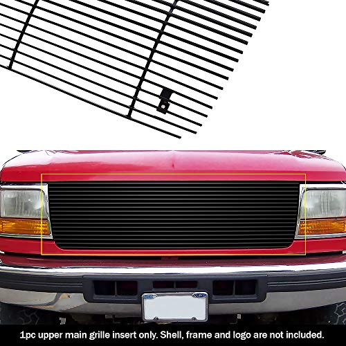 APS Compatible with 1992-1996 Ford Bronco F-Series Pickup Black Billet Grille Grill Insert S18-H70058F