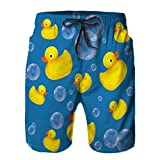 Mens Swim Trunk,Rubber Duck soap Bubble on Blue Quick Dry Shorts Beach surf Trunks Swimming Bathing Suits 3XL