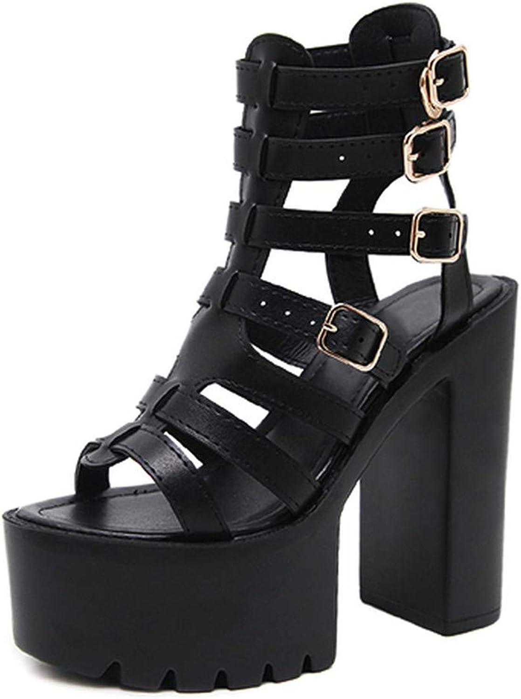 GAO-GEN1 Summer Sandals Women High Heels Buckle Thick Heel Ladies shoes On Summer Black Leather Comfortable