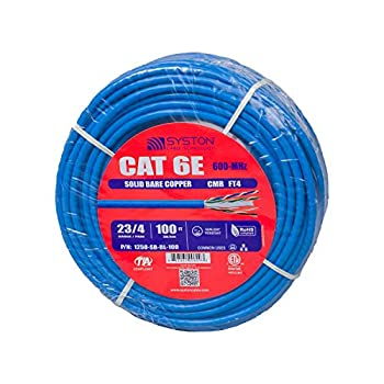 Cat6 Bulk Cable Raw 100ft Pure Copper Outdoor / Indoor Heat Resistant Solid 550Mhz 23AWG Riser Rated CMR Blue By Syston Cable