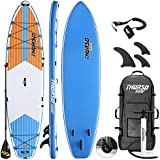 THURSO SURF Max Multi-Purpose Inflatable Stand Up Paddle Board SUP 350 x 86 x 15 cm Two Layer Deluxe Package Includes Carbon Shaft Paddle/2+1 Quick Lock Fins/Leash/Pump/Roller Backpack (2019)