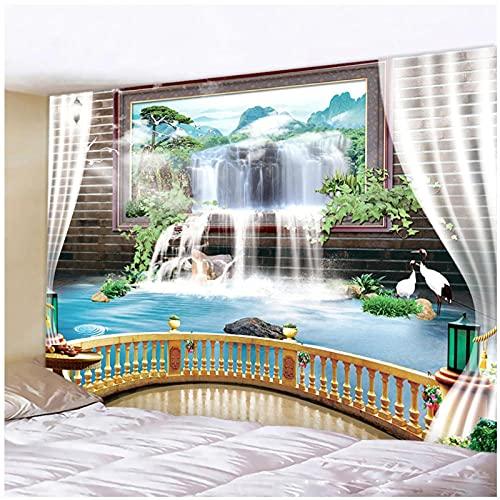 Tapiz BY MJMCYBQQY Tapiz artístico de decoración del hogar con paisaje de cascada de gran tamaño 3D decoración bohemia colchoneta de Yoga colchón de viaje Hippie 59.05'x78.74'Inch(150x200 Cm)