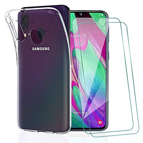 KEEPXYZ Funda para Samsung Galaxy A40 + 2 Pcs Protector de Pantalla para Samsung A40 Cristal Templado, Flexible Suave Silicona Transparente TPU Carcasa + Vidrio Templado para Samsung Galaxy A40