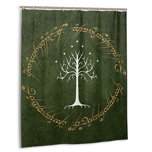 Yuange Lord Rings Shower Curtain Lined with Waterproof Polyester Fabric Shower Curtain Fabric Shower Curtain 12 Hook 60 X 72 Inch