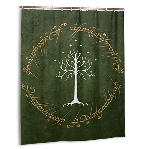 Cortina de ducha Yuange Lord Rings forrado con tela de poliéster impermeable cortina de ducha de tela cortina de ducha de 12 ganchos de 150 x 72 pulgadas