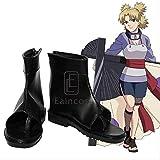 WSJDE Anime Naruto Temari Cosplay Party Shoes Black Peep Toe Boots por Encargo 40