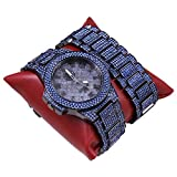 techno king watches for women - Techno King Men's Iced Out Hip Hop Metal Band Watch and Matching Studded Bracelet Gift Set GM1809-GUBU