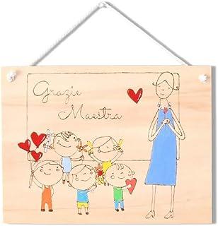 Targa regalo maestra personalizzata in legno tema bambini che offrono regali