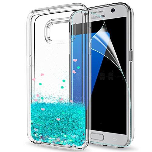 LeYi Compatible con Funda Samsung Galaxy S7 Edge Silicona Purpurina Carcasa con HD Protectores de Pantalla,Transparente Cristal Bumper Telefono Gel TPU Fundas Case Cover para Movil S7 Edge Turquoise