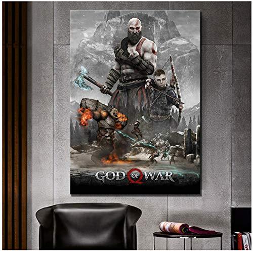 Canvas Wall Art Home Decor Gedrukt God van de Oorlog 4 Spel Figuur Poster Schilderen Moderne Modulaire Type voor Woonkamer -60x90cm Geen Frame