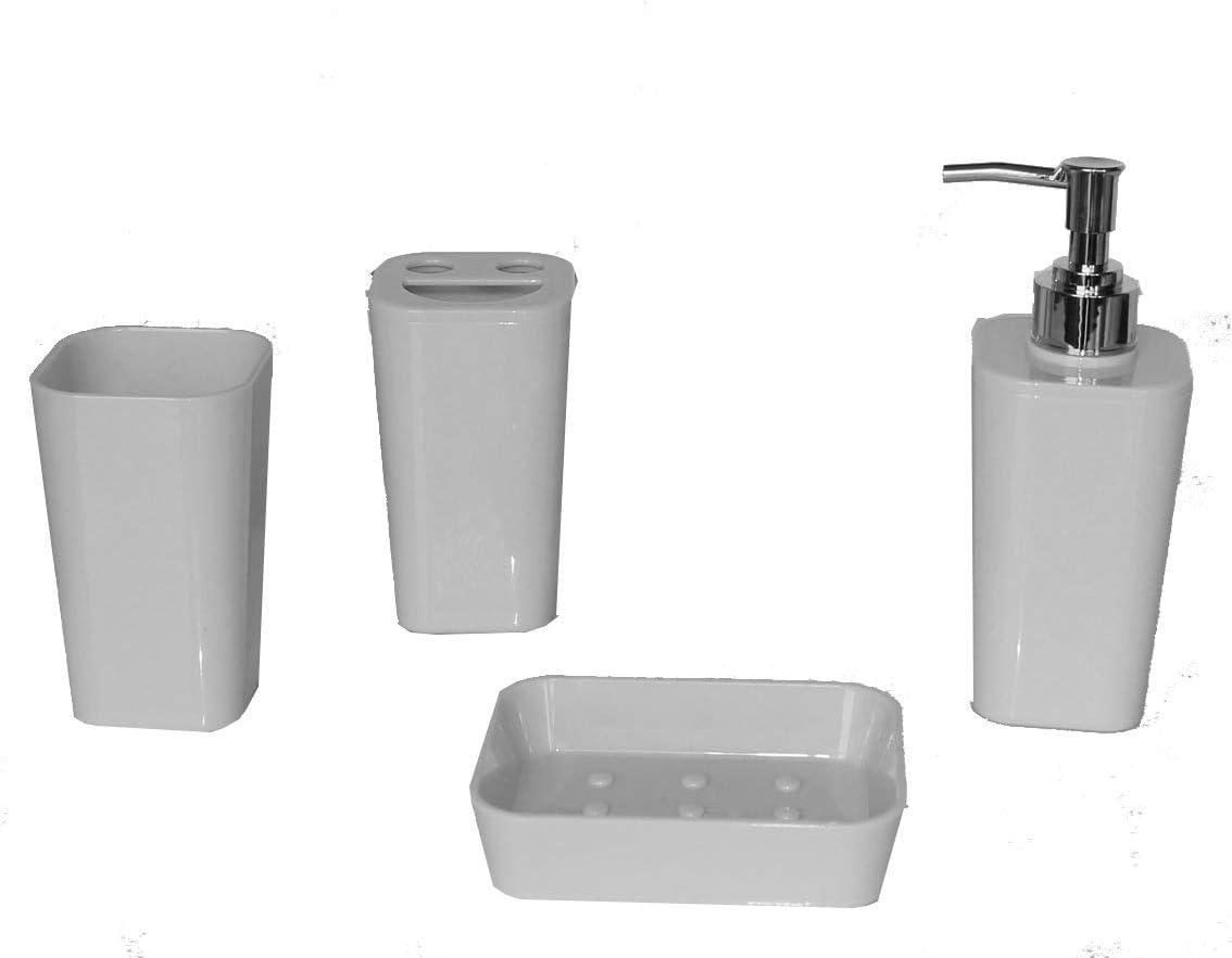 FurnitureXtra Lot de 4 accessoires de salle de bain en plastique ABS avec gobelet porte-brosse /à dents distributeur de savon et porte-savon
