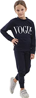 Hi Fashionz Girls Vogue Tracksuit 2 Piece Printed Loungewear Kids Top Bottoms Set Jogger Co Ord Set 7-13