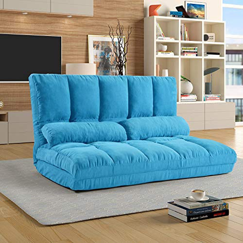 """Foldable Floor Couch Lounge, Norcia Adjustable 45"""" Thicken Floor Sofa Bed with 2 Pillows, Sleeper Sofa Chair Chaise Loveseat Futon Cushion Seating for Bedroom and Living Room"""