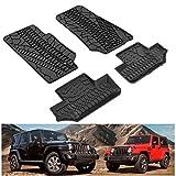 L&U Tapetes Compatible para 2007-2013 Jeep Wrangler JK 2 Puertas Delantera y Trasera Fila TPE Suelo Revestimientos de protección para Cualquier estación Slush Mat Negro