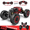 BEZGAR 15 Toy Grade1:14 Scale Remote Control Crawler, 4WD Transform 15 Km/h All Terrains Electric Toy Stunt Cars RC Monster Vehicle Truck Car with Rechargeable Batteries for Boys Kids Teens and Adults by BEZGAR