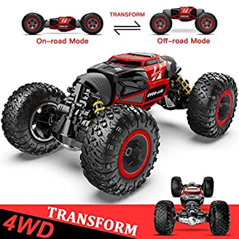 BEZGAR 15 Toy Grade1 14 Scale Remote Control Crawler 4WD Transform 15 Km/h All Terrains Electric Toy Stunt Cars RC Monster Vehicle Truck Car with Rechargeable Batteries for Boys Kids Teens and Adults