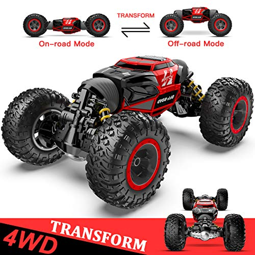 BEZGAR 15 Toy Grade1:14 Scale Remote Control Crawler, 4WD Transform 15 Km/h All Terrains Electric Toy Stunt Cars RC Monster Vehicle Truck Car with Rechargeable Batteries for Boys Kids Teens and Adults