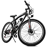 EPIKGO Electric Bike 250W Motor Powered Mountain Bicycle 26' Tire, 20MPH Adult Ebike with P.A.S and 21 Speed-Gear Shifter 36V/8AH Removable Lithium Battery, Black, Standard (EG000045)