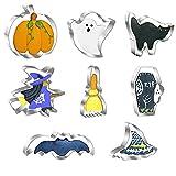 Set di 8 formine per biscotti di Halloween, in acciaio inox, formine per biscotti – zucche, pistrello, fantasma, strega, cappello da strega, gatto Sarg, scopa, stampi in metallo per Halloween